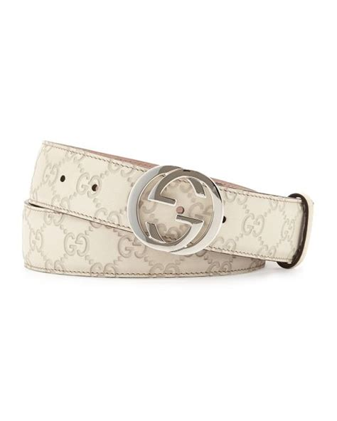 Gucci Leather G White gucci interlocking g buckle leather belt in white medium white lyst