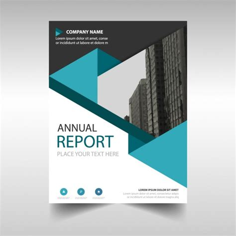 Free Report Cover Templates Blue Polygonal Annual Report Cover Template Vector Free