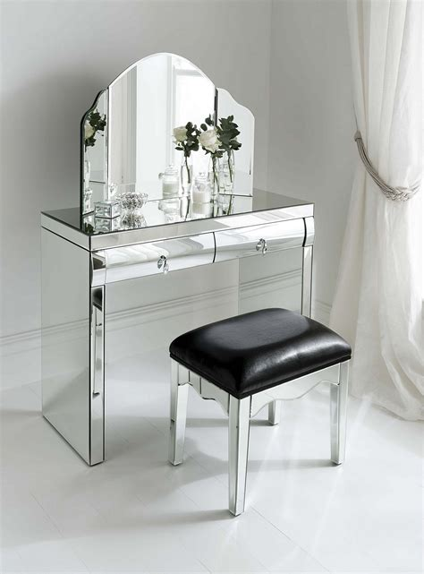 Silver Vanity Table Ceiling Silver Mirrored Vanity Table With Mirror With Leather Chair And Curtain For Home