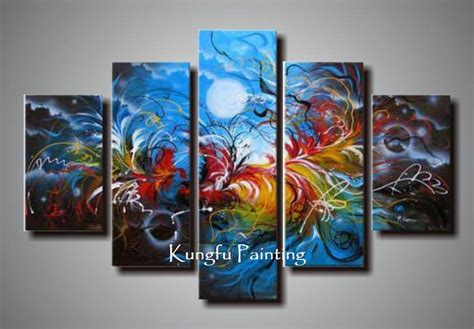 painting for 5 100 painted abstract 5 panel canvas living room