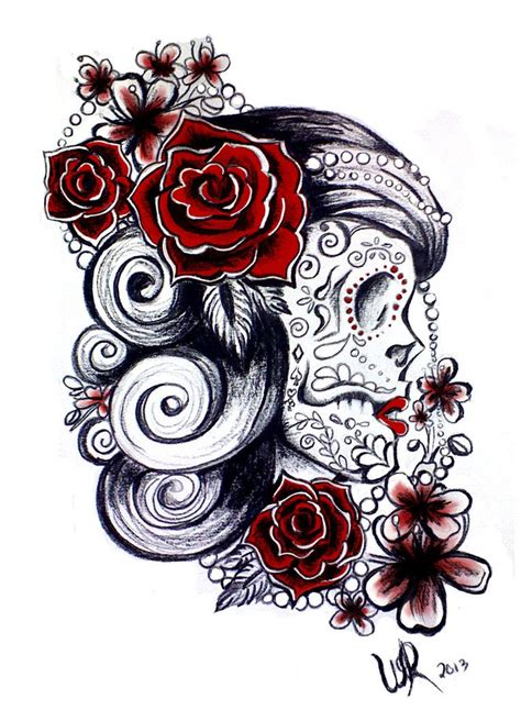 feminine sugar skull tattoo designs sugar skull design feminine