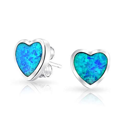 blue opal 925 sterling silver synthetic blue opal inlay stud