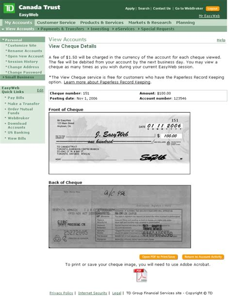 td bank official website image gallery td cheque