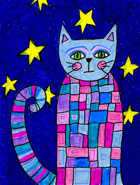 Pattern Cat Art Lesson | pattern cat art projects for kids