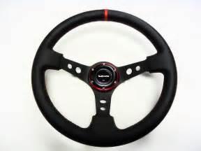 Steering Wheels Leather 350mm Vms Racing Dish Steering Wheel Black Leather