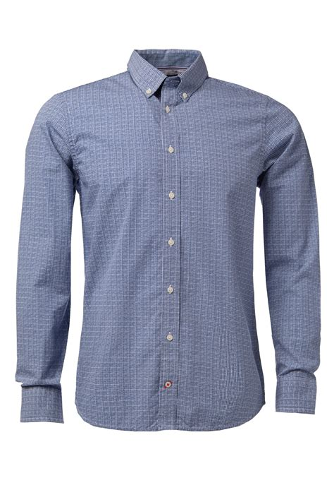 pattern long shirt tommy hilfiger keydan pattern long sleeve shirt in blue