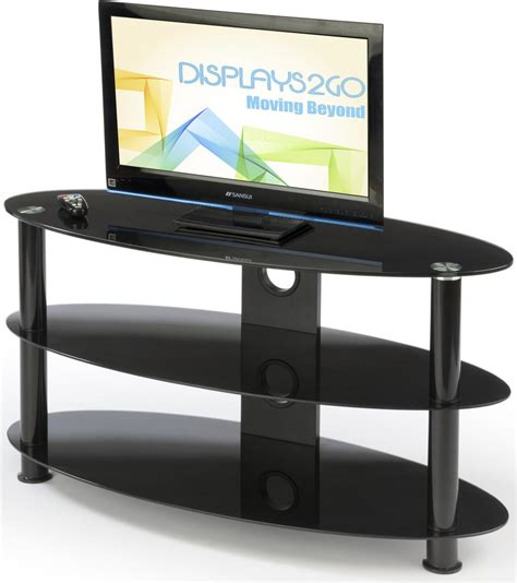 oval glass tv stand 3 tempered glass shelves