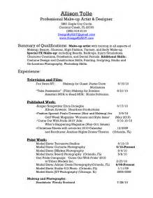 Sle Resume For Cosmetologist by Sle Makeup Artist Resume Cover Letter Makeup Vidalondon