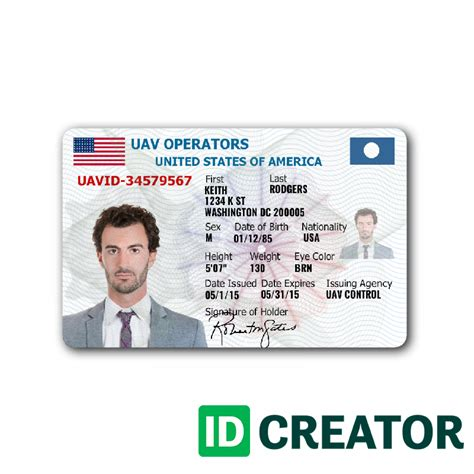 Id Card Maker Template by Drone Pilot S License Same Day Shipping From Idcreator