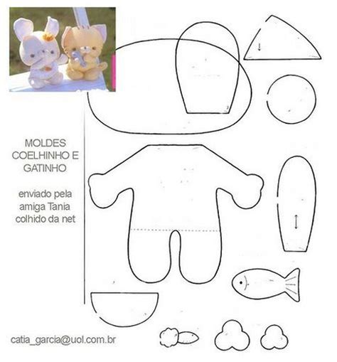 felt template diy cat bunny stuffed animal free sewing pattern