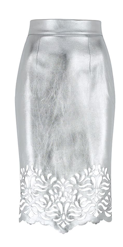 denmer silver leather skirt leather4sure leather pencil