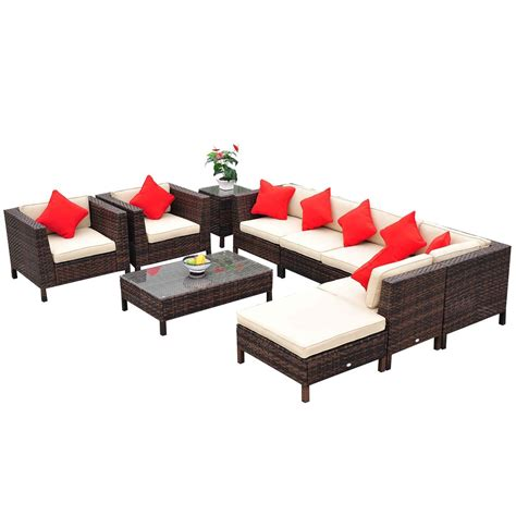 review outsunny 9 outdoor pe rattan wicker sectional