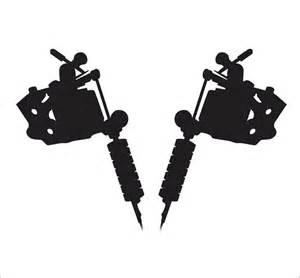 set of tattoo machine decals stickers gun window shop art