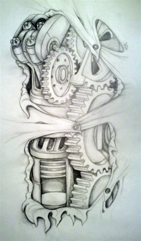 biomechanical skull leg tattoo design