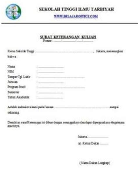 contoh surat keterangan kuliah