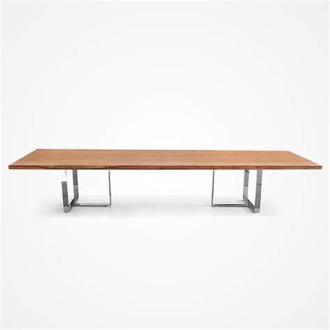 single slab angelim dining table stainless steel base