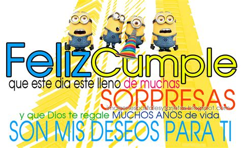 imagenes de minions que digan feliz cumpleaños postal de cumplea 241 os de minions imagenes postales y tarjetas