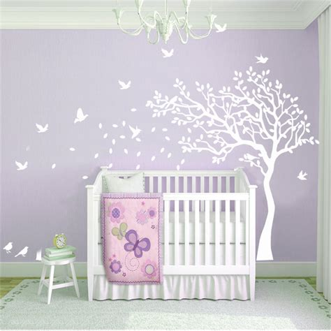 removable wall stickers nursery nursery cot side tree with birds removable wall decals