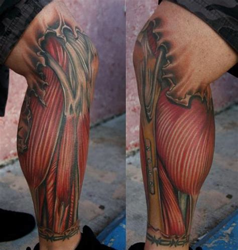 aric taylor tattoo of exposed muscle and bones on leg