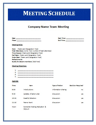 email template to schedule a meeting schedule templates free word templates