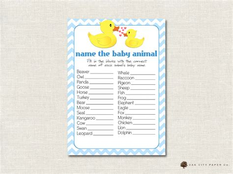 Name The Baby Animal Baby Shower by Rubber Ducky Name The Baby Animal Baby Shower Rubber