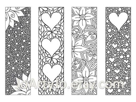 zentangle inspired bookmarks printable coloring digital zendoodle bookmarks diy zentangle inspired hearts and