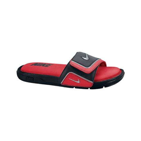 nike slides comfort nike comfort slides in red for men red metallic grey lyst