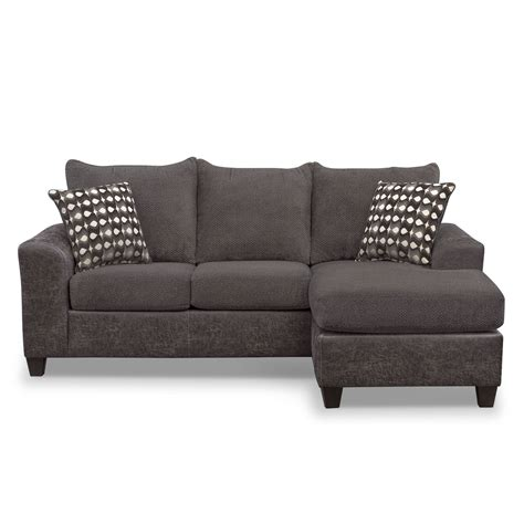 american signature chaise brando sofa with chaise smoke american signature furniture