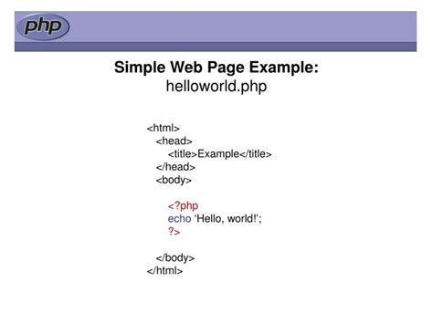 simple php page template ppt what is php powerpoint presentation id 4641917