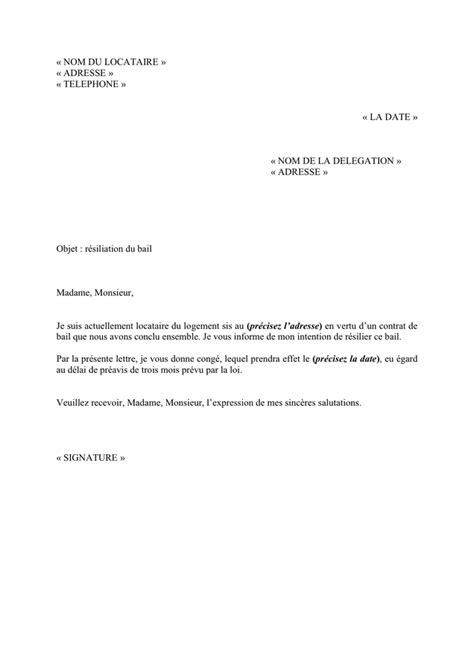 Exemple Modele Lettre De Resiliation exemple de lettre de resiliation du bail doc pdf page