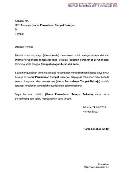 format surat pengunduran diri di organisasi contoh surat pengunduran diri indomaret wall pressss
