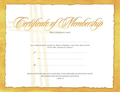 certificate of membership certificates church