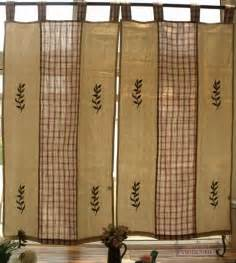 Pair 2 natural window curtain door french country cottage chic red