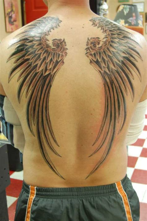 tribal wings back tattoo grey ink tribal wings back