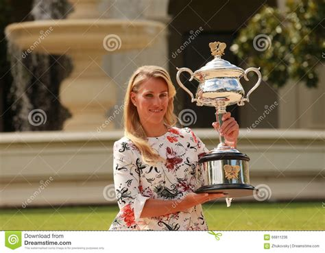 trophy house grand slam chion angelique kerber of germany posing in