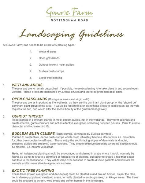 landscaping guidelines gowrie farm nottingham road kzn midlands