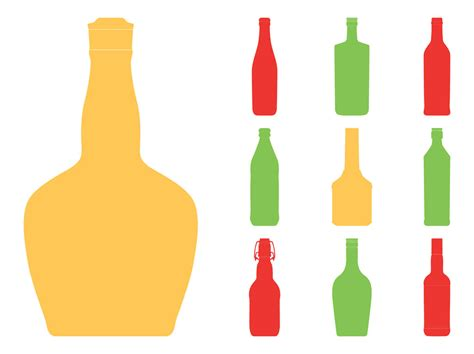 Bottle Ventor bottle silhouettes set vector graphics freevector
