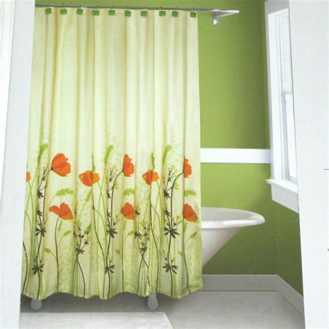 springmaid chantal orange green brown fabric shower