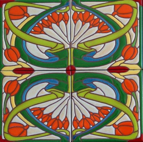Handmade Designer - made nouveau tiles classic whiplash design by