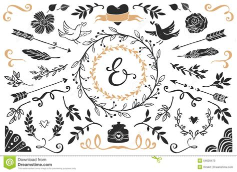decorative classic wedding design elements vector hand drawn vintage decorative elements with lettering