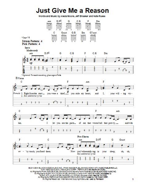 Tutorial Guitar Just Give Me A Reason | just give me a reason feat nate ruess sheet music by