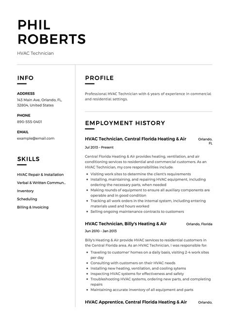 hvac service technician resume exles resume builder resumeviking