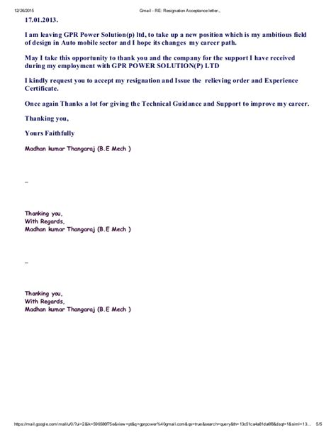 Resignation Letter Accepted New Gmail Re Resignation Acceptance Letter