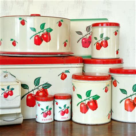 vintage apple aluminum canister kitchen decor collectible apple canisters sets spice storage container pcsset