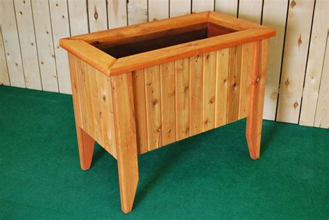 Planter With Legs by Pl Box Redwood Rectangle Planters With Legs The Redwood