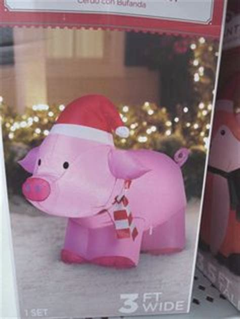 pink christmas pig outdoor decoration 30 quot lighted pre lit pink pig on skis outdoor yard decor my for