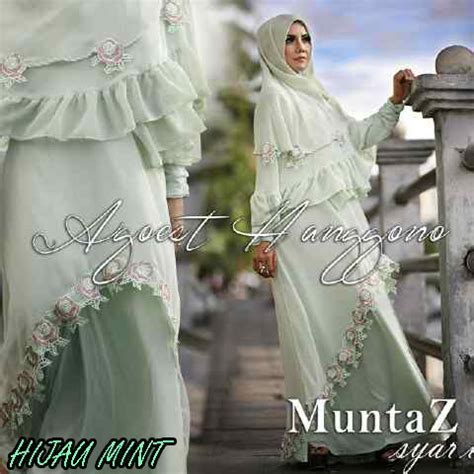Terlaris Army Syari Hijau Busana Muslim Wanita Gamis Syari Busui muntaz hijau mint baju muslim gamis modern