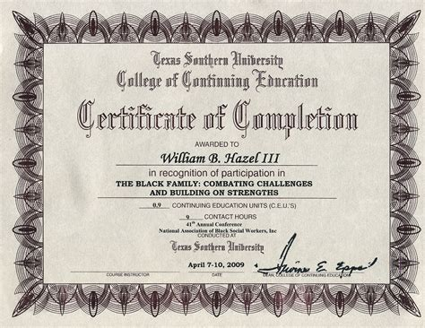 College University Texas Southern University College Of Education Chainimage Anger Management Certificate Of Completion Template