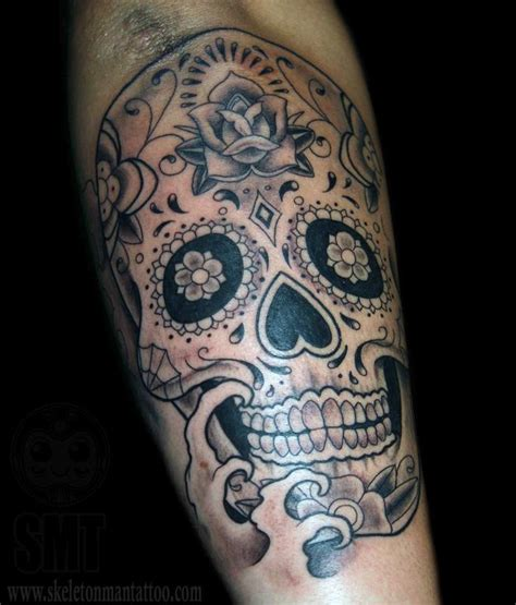 small black and gray tattoos black and grey sugar skull by skeleton tattoonow