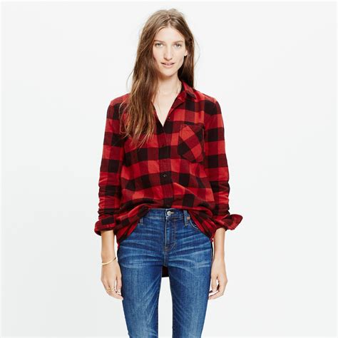 Boyfriend Shirts Madewell Flannel Ex Boyfriend Shirt In Buffalo Check In